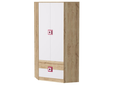 NIKI Wardrobe 2-door with 2 drawers White / Oak / Turquoise