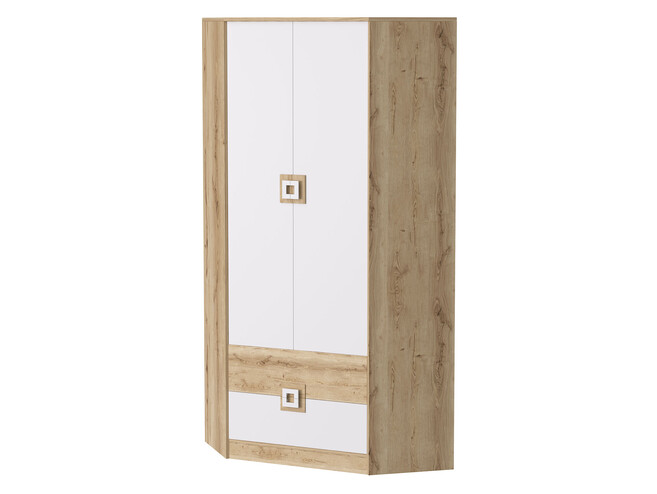huge selection of ed7e1 ee5cf NIKI Corner Wardrobe 2-door with 2 drawers White / Oak / White