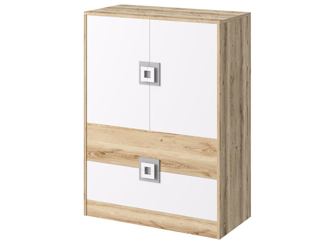 NIKI dresser cupboard 2-door with 2 drawers white / oak / turquoise