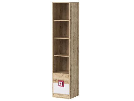 NIKI shelf bookcase with 3 shelves and 2 drawers white /...