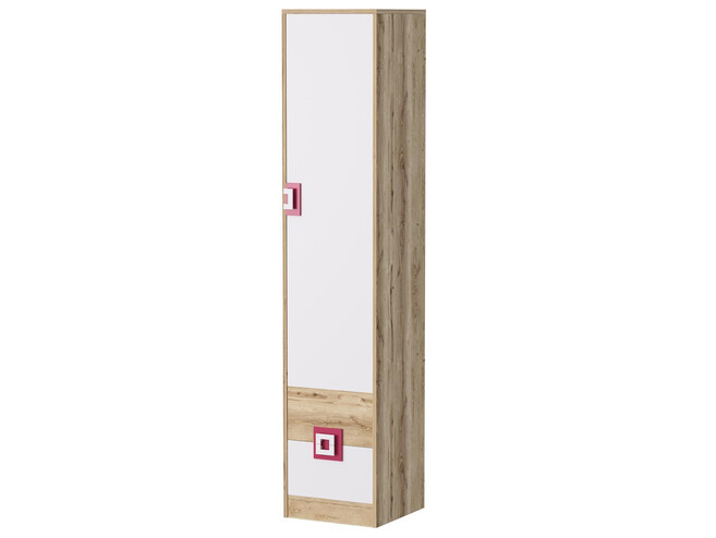 Niki Cupboard Wardrobe With 3 Shelves And 2 Drawers White Oak Pink