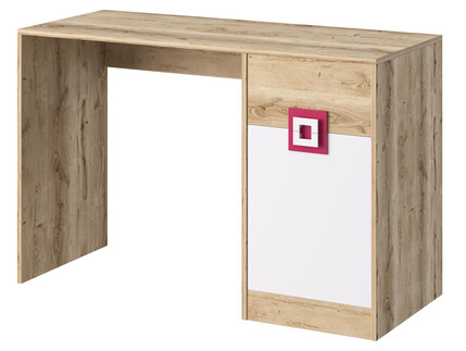 NIKI desk with 1 door and 1 drawer white / oak / turquoise