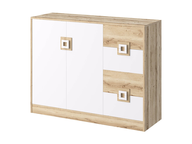 NIKI Highboard chest of drawers 2-door with 4 drawers white / oak / turquoise