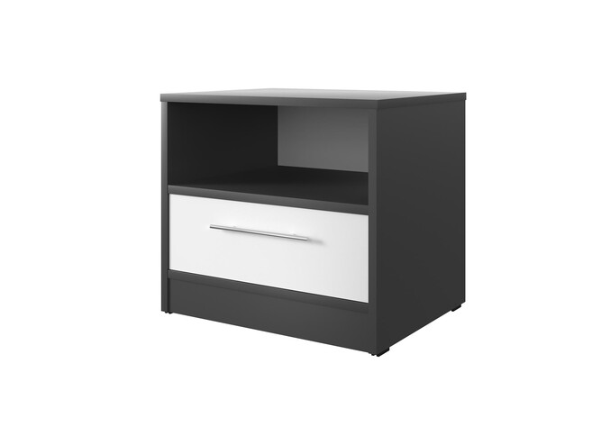 Bedside table Basic / Standard with a drawer Anthracite/White