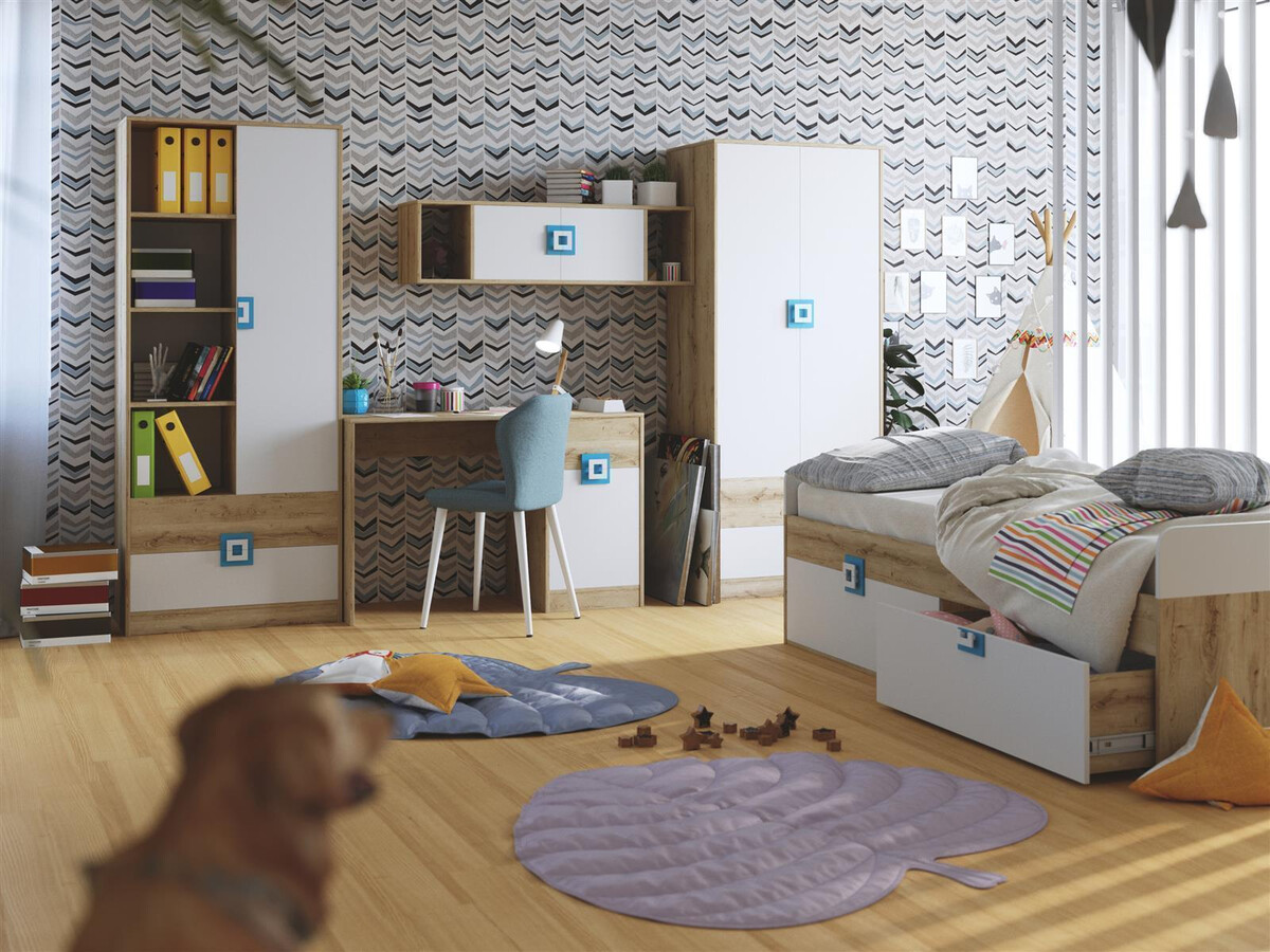 niki kinderzimmer jugendzimmer 03 5 tlg wei eiche t rkis 895 95. Black Bedroom Furniture Sets. Home Design Ideas