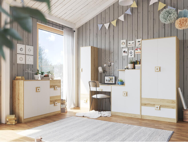 NIKI childrens room youth room 04 (4-piece)White / Oak / White