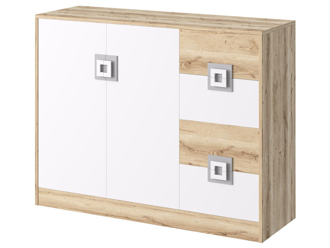 NIKI childrens room youth room 04 (4-piece)White / Oak / Grey