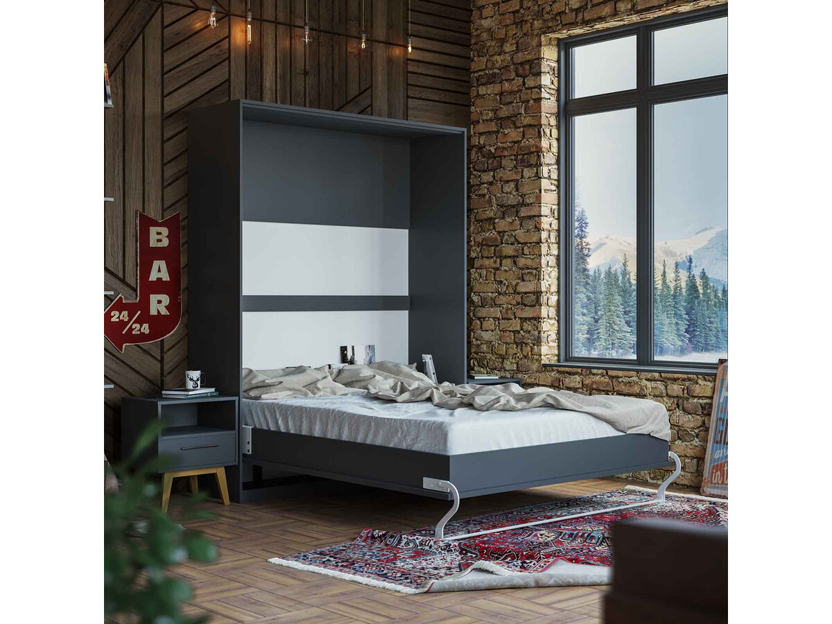 Folding Wall Bed 160cm Anthracite Smartbett Murphy Bed 1 371 53