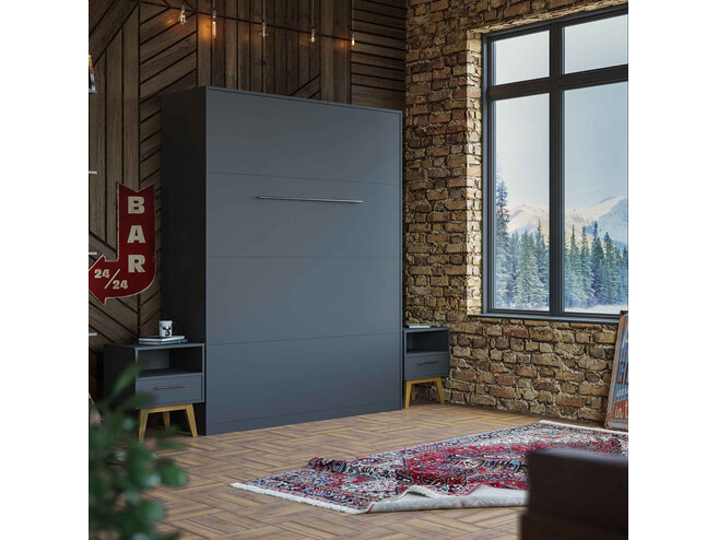 Folding wall bed 160cm Anthracite SMARTBett Murphy bed