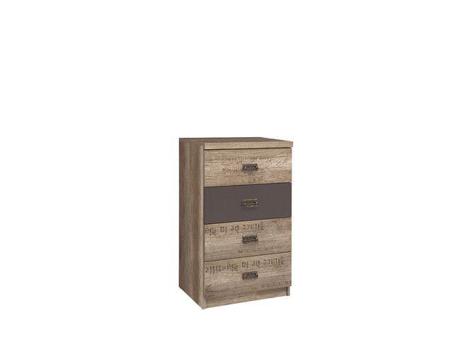 Malkolm Dresser 50cm 4 drawers Oak Canyon with writing / tungsten