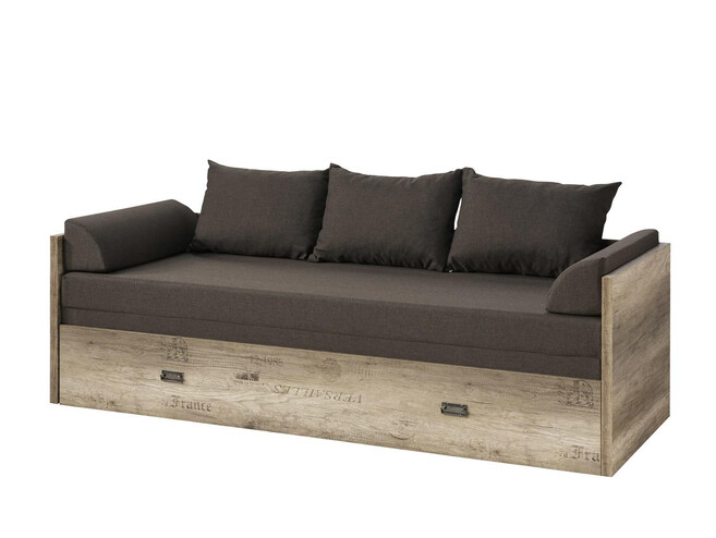 Malkolm sofa bed extendable 80/160 oak Canyon with writing / tungsten / brown