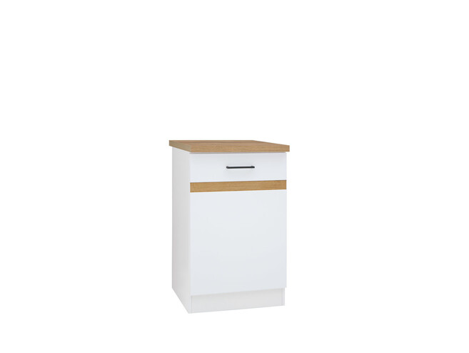 Base cabinet 50 cm with a door Junona Line Corpus White Front: White Glanz/ Gold right
