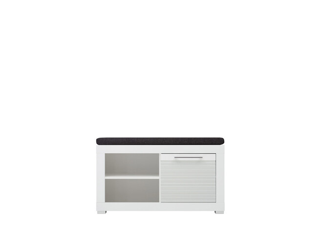 Shoe cabinet  with seat function and 1 door FLAMES  White/White high gloss