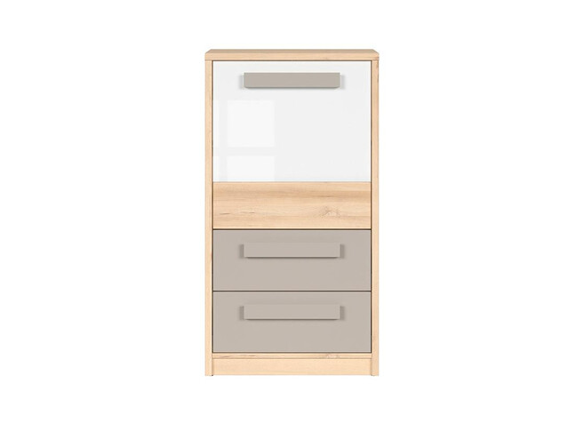 NAMECK chest of drawers 1 door 2 drawers in beech imitation / gray