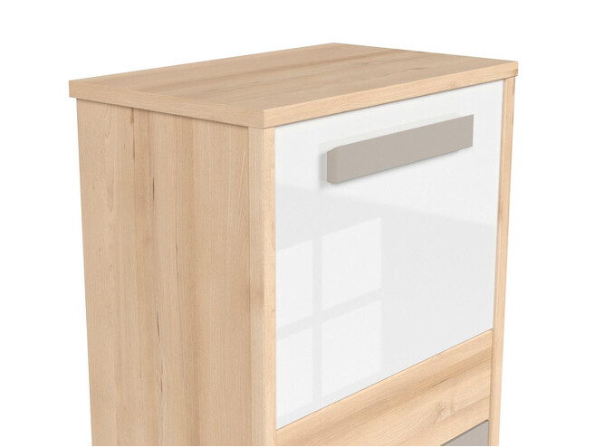 NAMECK dresser chest of drawers cabinet in beech decor / white gloss / gray