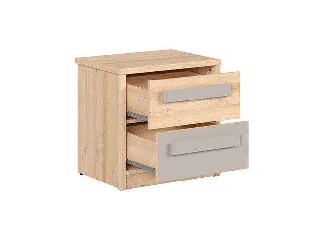 NAMECK bedside table in beech decor / gray