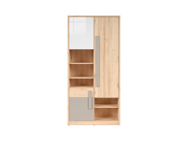 Nameck Bookcase Cabinet 3 Door In Beech Finish White Gloss Gray