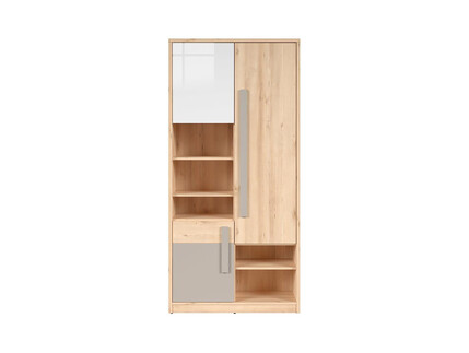 NAMECK bookcase Cabinet Shelving 3 doors in beech finish...