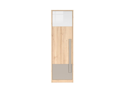 NAMECK wardrobe 1 door in beech decor / white gloss / gray