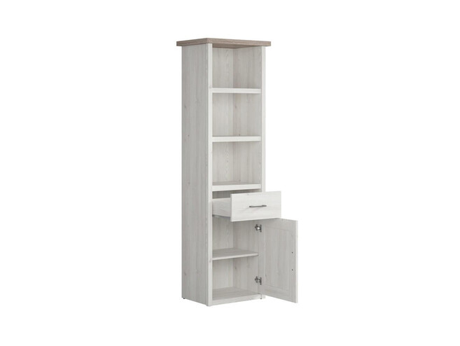 LUKKA bookcase stand shelf 1-door with 1 drawer in larch light / dark oak
