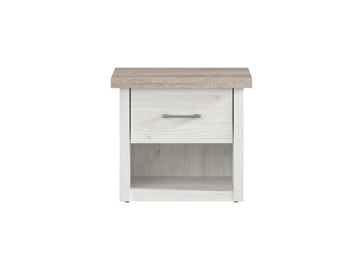 Lukka Bedside Table With 1 Drawer In Larch Light Dark Oak