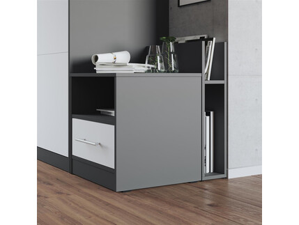 Nightstand Anthracite/White SMARTBett folding bed 160x 200cm