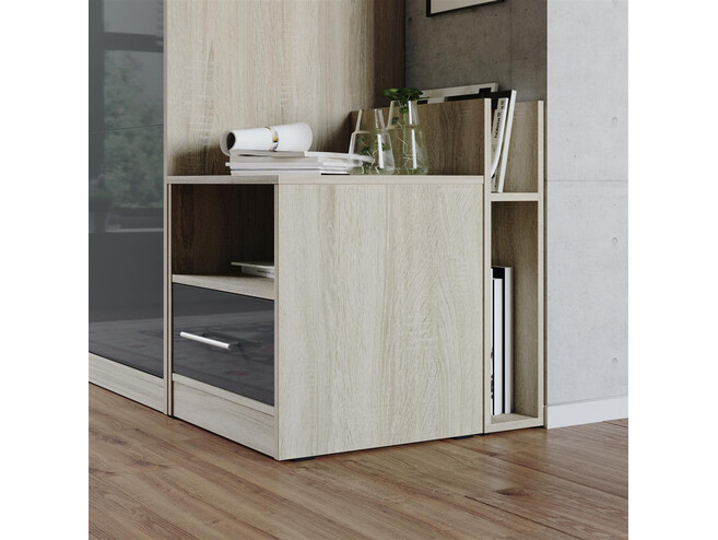 Nightstand Oak Sonoma/Anthracite High gloss front SMARTBett folding bed 160x 200cm
