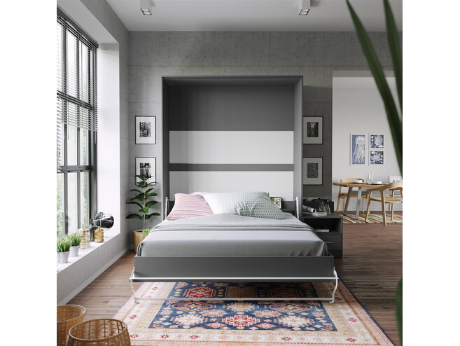Nightstand Anthracite/Anthracite High gloss front SMARTBett folding bed 160x 200cm