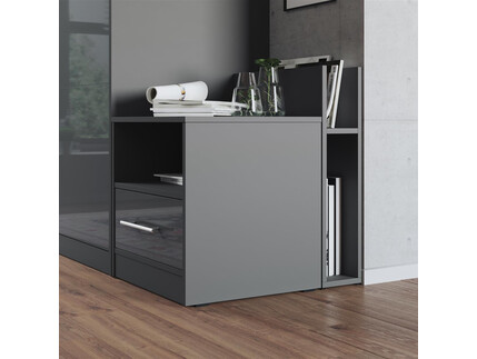 Nightstand Anthracite/Anthracite High gloss front...