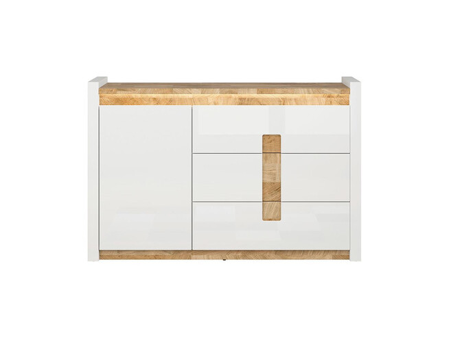 Alamena chest of drawers sideboard in white / oak Westminster / white gloss with LED