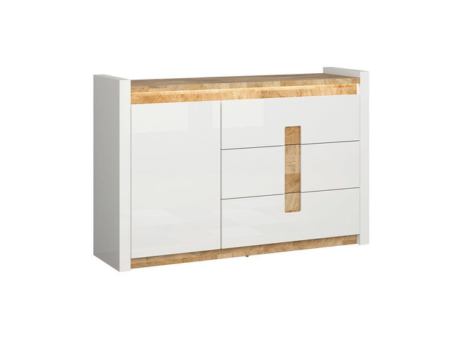 Alamena Chest of drawers Sideboard 147cm with LED white/ oak Westminster / white gloss