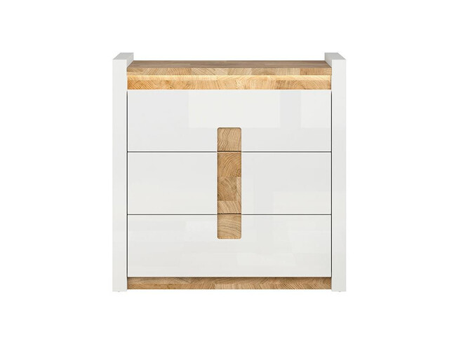 Alamena chest of drawers in white / oak Westminster / white gloss with LED