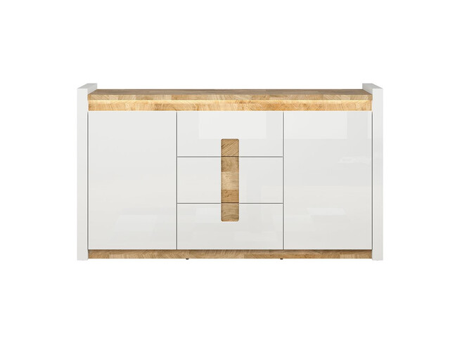 Alamena chest of drawers sideboard 172cm in white / oak Westminster / white gloss with LED
