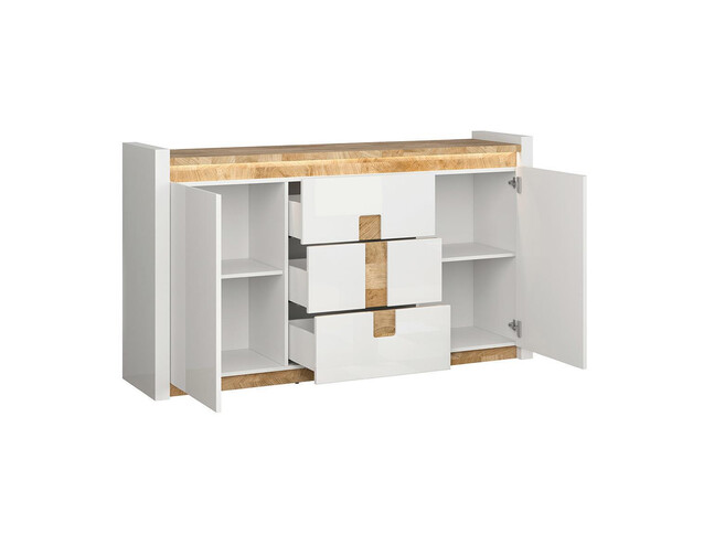 Alamena Chest of drawers Sideboard 172cm with LED white/ oak Westminster / white gloss
