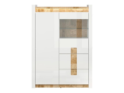 Alamena showcase cabinet with LED  white gloss / oak...