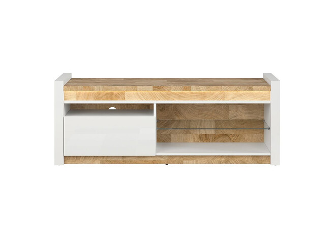 Alamena TV cabinet lowboard in white gloss / oak Westminster / white gloss with LED