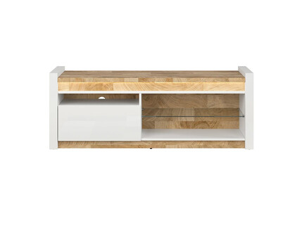 Alamena TV cabinet lowboard in white gloss / oak...