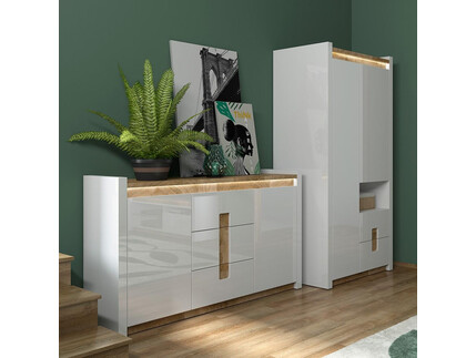 Alamena 02 Wardrobe set 2-tlg. in white / oak Westminster...