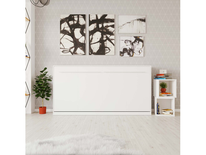 SMARTBett Folding wall bed Standard Comfort 90x200 Horizontal White with gas springs