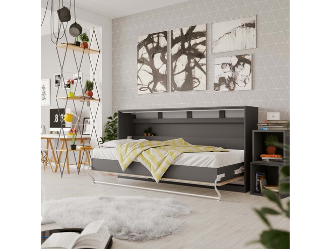 SMARTBett Folding wall bed Standard Comfort 90x200 Horizontal Anthracite/Oak Sonoma with gas springs