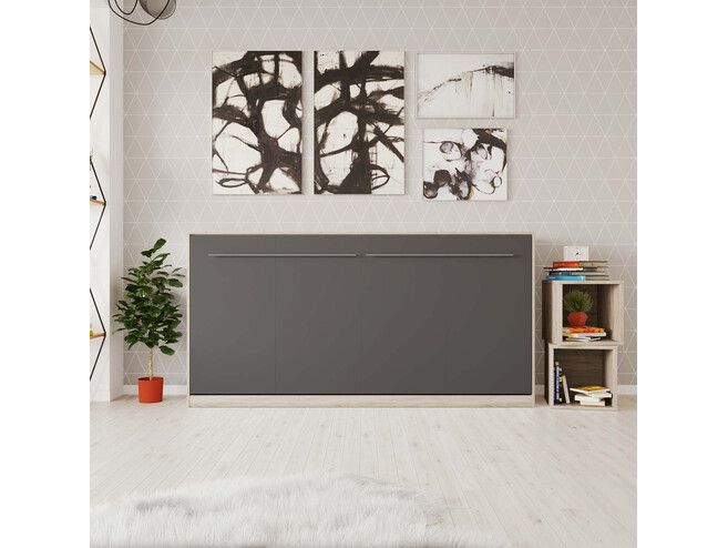 SMARTBett Folding wall bed Standard Comfort 90x200 Horizontal Oak Sonoma/Anthracite with gas springs