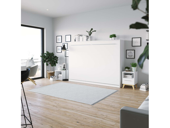 SMARTBett Folding wall bed Standard Comfort 140x200 Horizontal White with gas springs