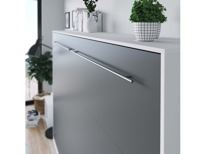 SMARTBett Folding wall bed Standard Comfort 140x200 Horizontal White/Anthracite with gas springs
