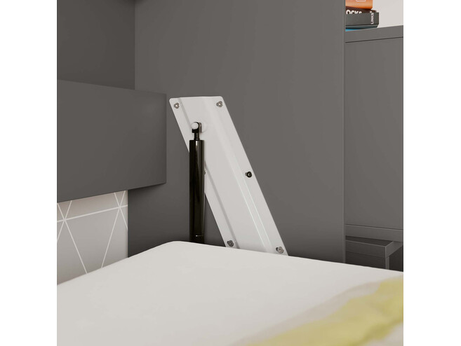 SMARTBett Folding wall bed Standard Comfort 90x200 Horizontal Anthracite/White high gloss front with gas springs