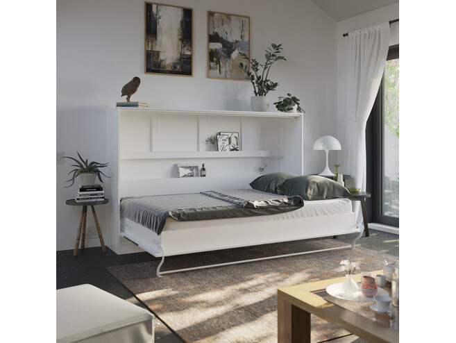 SMARTBett Murphy bed Standard 120x200 Horizontal White High gloss / White High gloss & Anthracite high gloss with gas springs