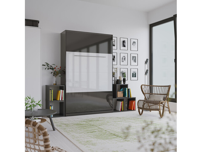 SMARTBett Folding wall bed Standard 120x200 Vertical Anthracite high gloss/Anthracite high gloss & White high gloss front with Gas pressure Springs