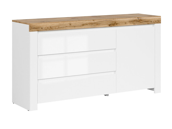 HOLSTEN chest of drawers with 3 drawers and 1 door in white / oak / white gloss