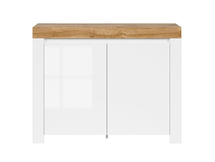 HOLSTEN cabinet with 2 doors in white / oak / white gloss