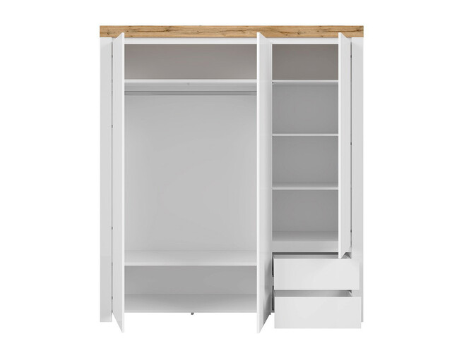 HOLSTEN wardrobe 3-door with 2 drawers in white / oak / white gloss