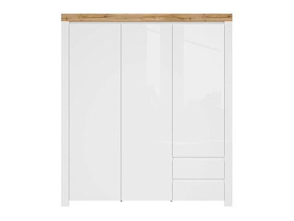 HOLSTEN wardrobe 3 doors in white / oak / white gloss